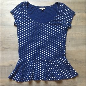 Zara Navy Blue & White Polka Dot Peplum Top